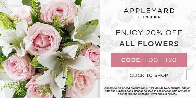 Use discount code FDGIFT20 for 20% off all full priced bouquets at Appleyard London.