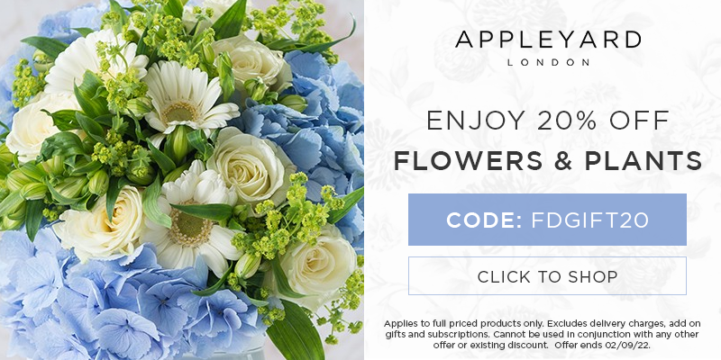 Use discount code FDGIFT20 for 20% off all full priced bouquets & plants at Appleyard London.
