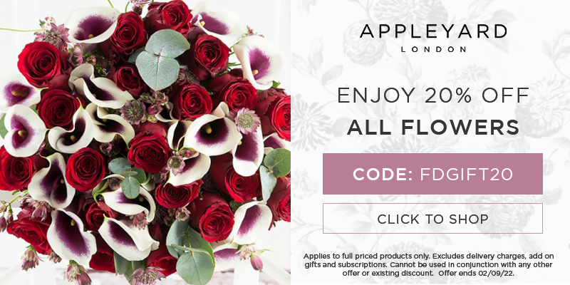 Use code FDGIFT20 for 20% off all full priced bouquets.