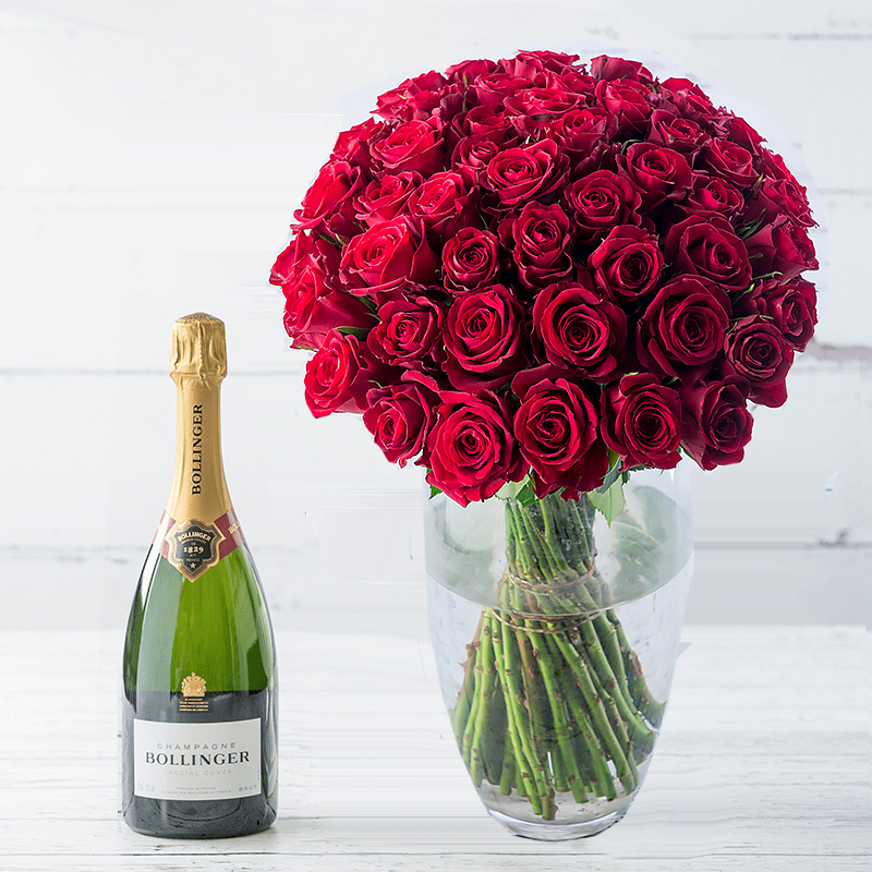 50 Red Roses & Champagne
