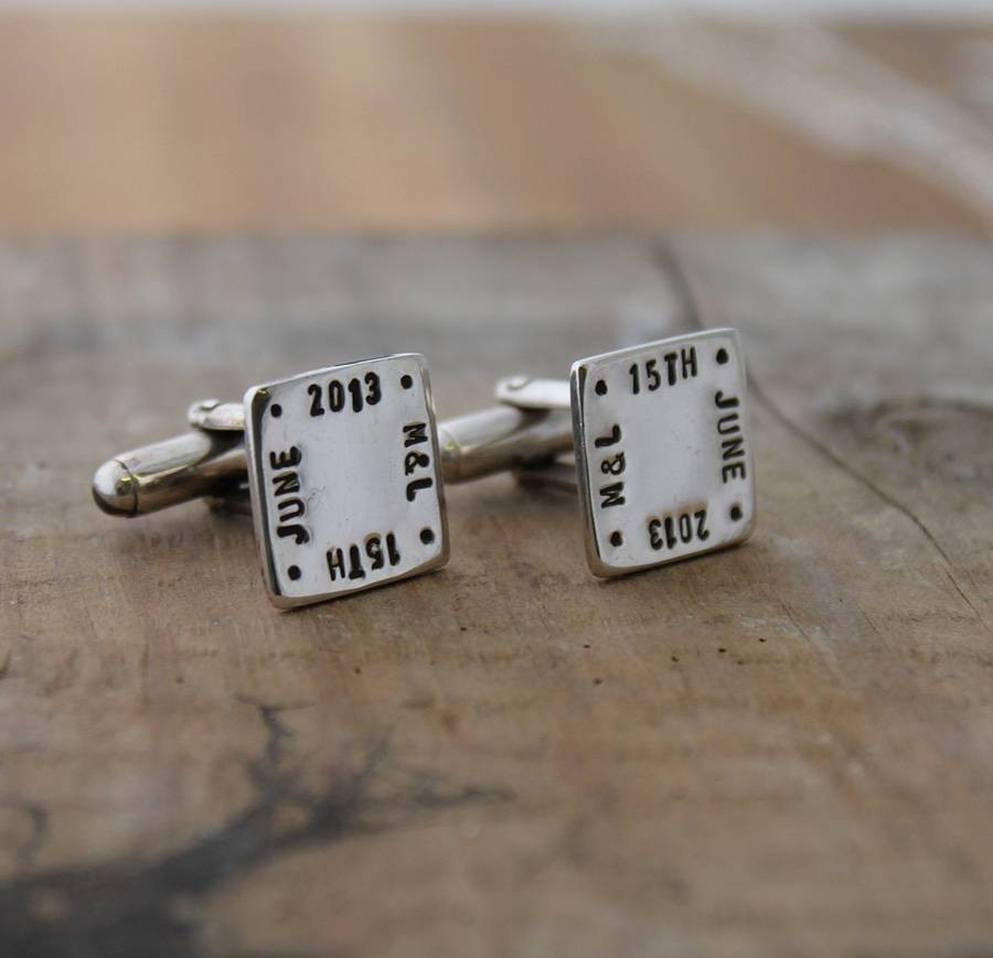 Personalised double cube cuff links