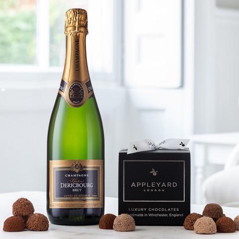 Champagne Dericbourg and 12 handmade Chocolate Truffles