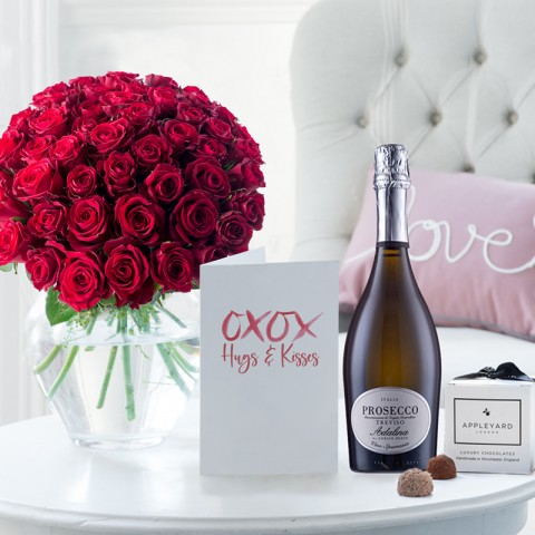 50 Red Roses, Prosecco, 6 Mixed Truffles & Romance Gift Card