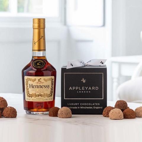 Hennessy Cognac VS Half Bottle and 12  handmade Chocolate Truffles