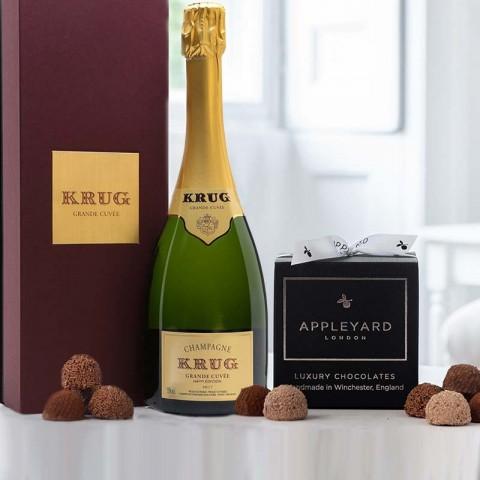 Krug Grande Cuvee Brut NV Champagne and 12  handmade Chocolate Truffles