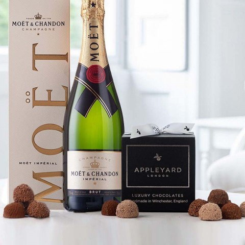 Moët & Chandon Brut 75cl Champagne and 12 handmade Chocolate Truffles