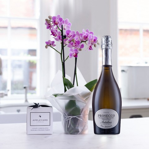 Pink Orchid, Prosecco & 6 Mixed Truffles