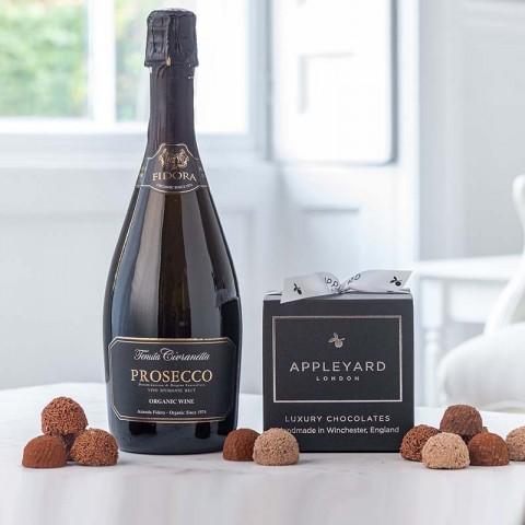 Prosecco Fidora, Organic and 12 handmade Chocolate Truffles