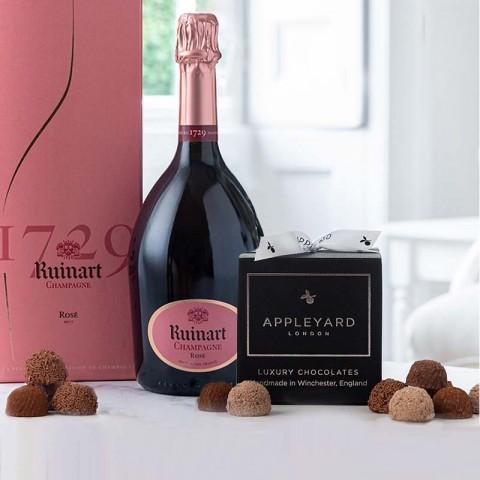 Ruinart Rose Champagne and 12  handmade Chocolate Truffles