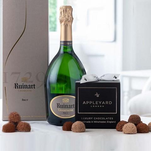 R de Ruinart Brut Champagne and 12  handmade Chocolate Truffles