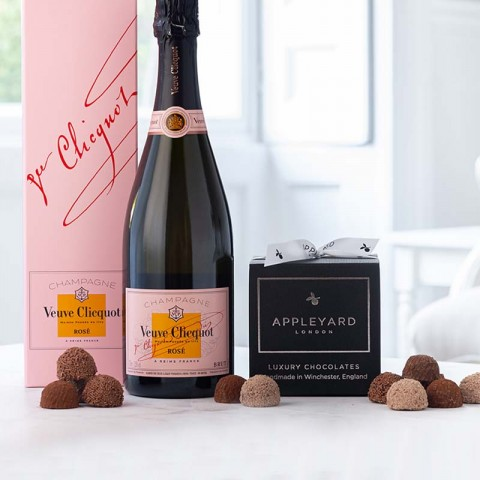 Veuve Clicquot Rose Champagne and 12  handmade Chocolate Truffles