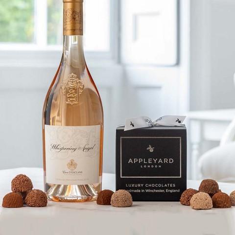 Whispering Angel Rose Wine and 12 handmade Chocolate Truffles