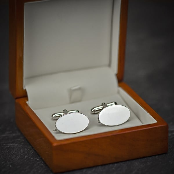 Farrar & Tanner Silver Large Oval Hinged Cufflinks
