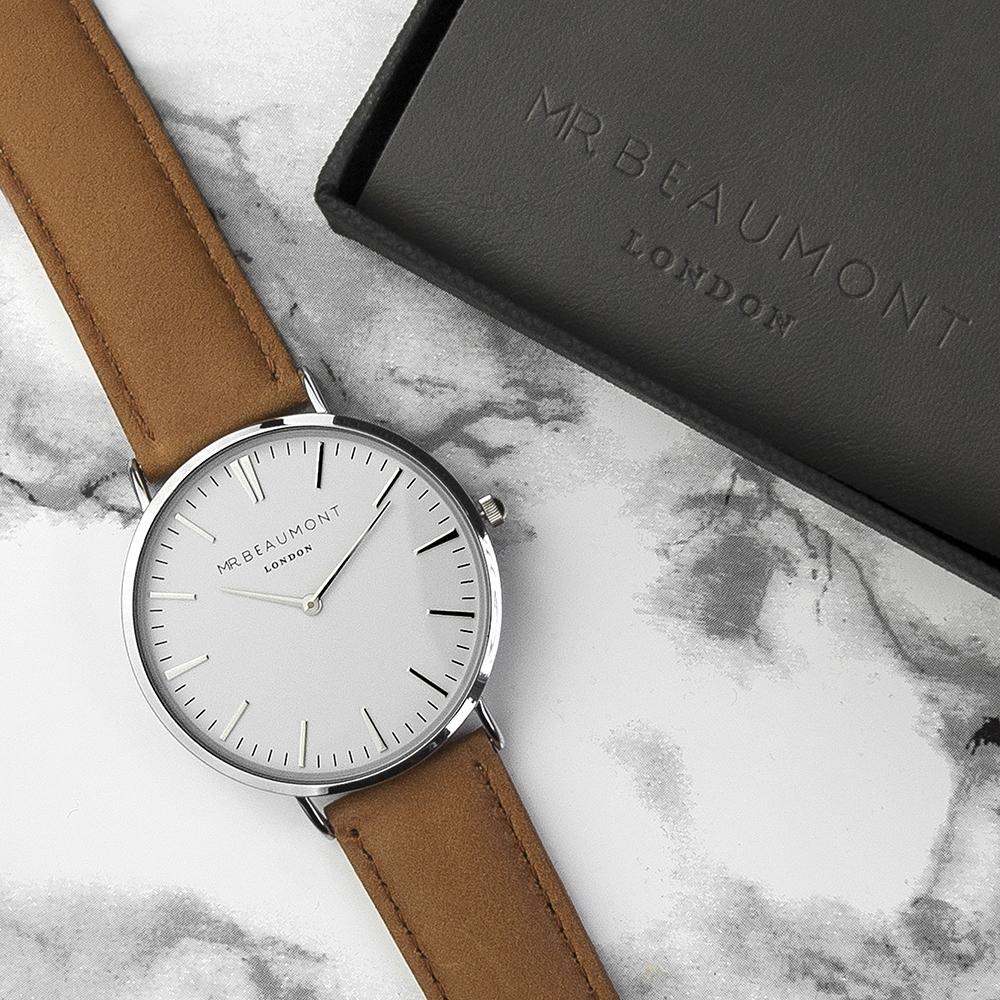 Men's Modern-Vintage Personalised Leather Watch In Camel
