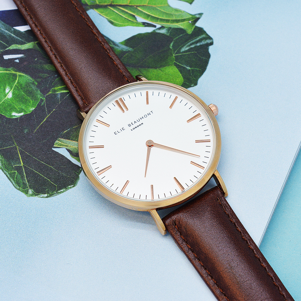 Women's Modern - Vintage Personalised Leather Watch in Brown