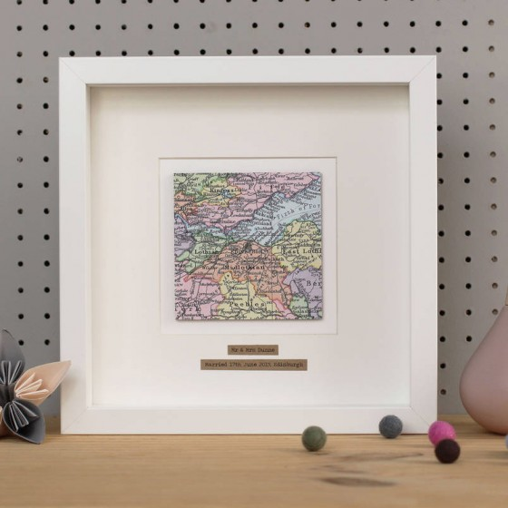 Personalised Single Square Map Framed Picture