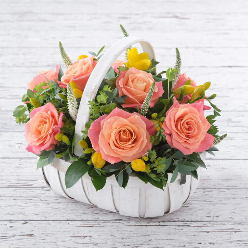 Vintage Rose & Freesia Basket
