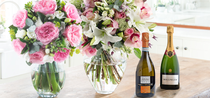 Mothers Day Flowers & Wine